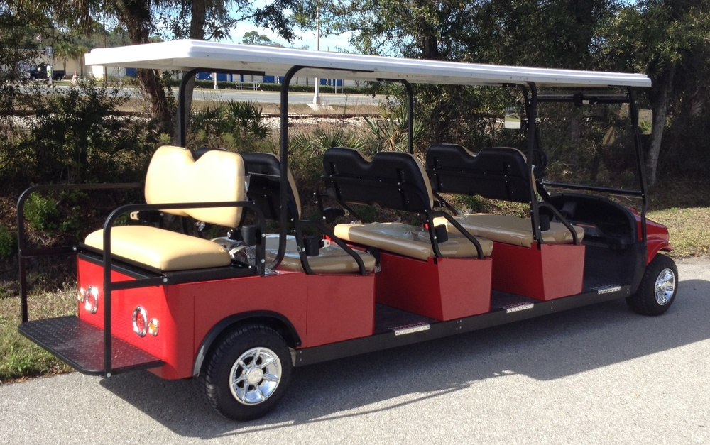 M8BTB 8 passenger back to back (6 forward and 2 back) transport golf cart style vehicle.