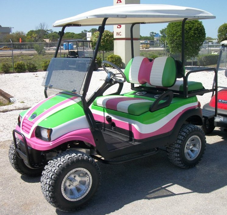 4 passenger Electric Golf Cart. Shown with custom paint, tires and speakers.