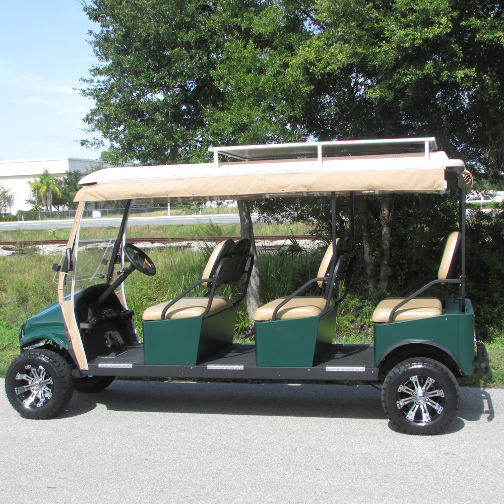 M6: 6 forward-facing passenger transport golf-cart-style vehicle with custom seating and adjustable sunbrella enclosure.
