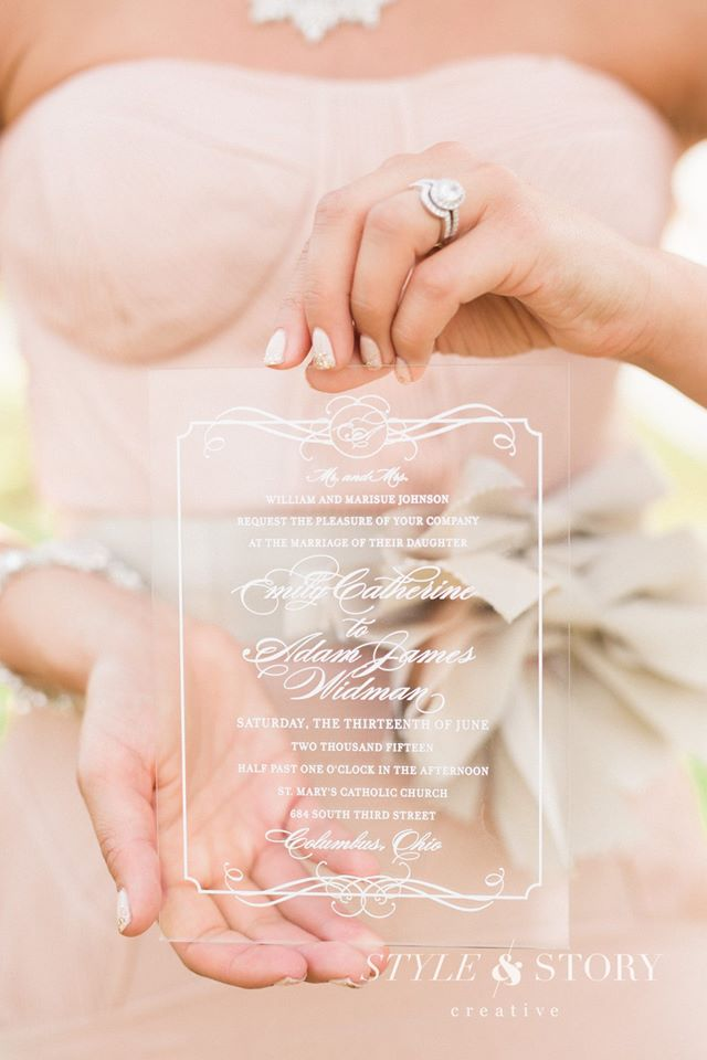I've seen some pretty interesting invitations before but never ones like this! These clear and pink invitations fit in perfectly with the whole theme of the wedding! These custom invitations were made by Ink & Ivory.