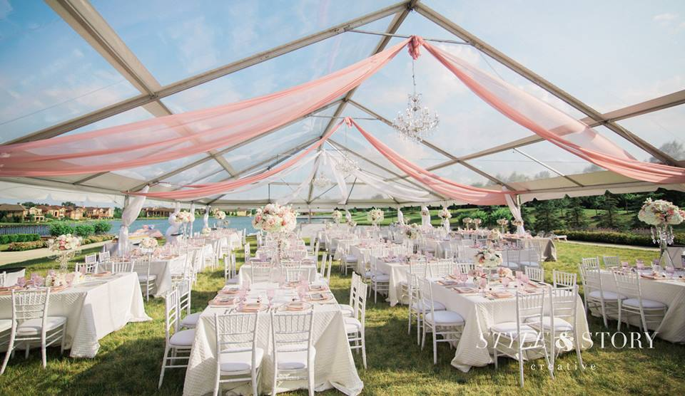 Chandeliers and a clear tent with pink accents made The Club at Corazon the perfect venue!