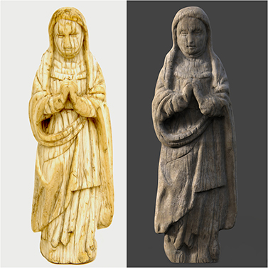 The original image (left) and the digital sculpt (right).