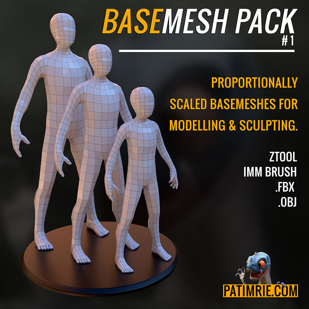 BASEMESH PACK #1 - A FREE PACK OF BASEMESH MODELS FOR SCULPTING, MODELLING & RIGGING. LINK WILL REDIRECT TO GUMROAD.COM.