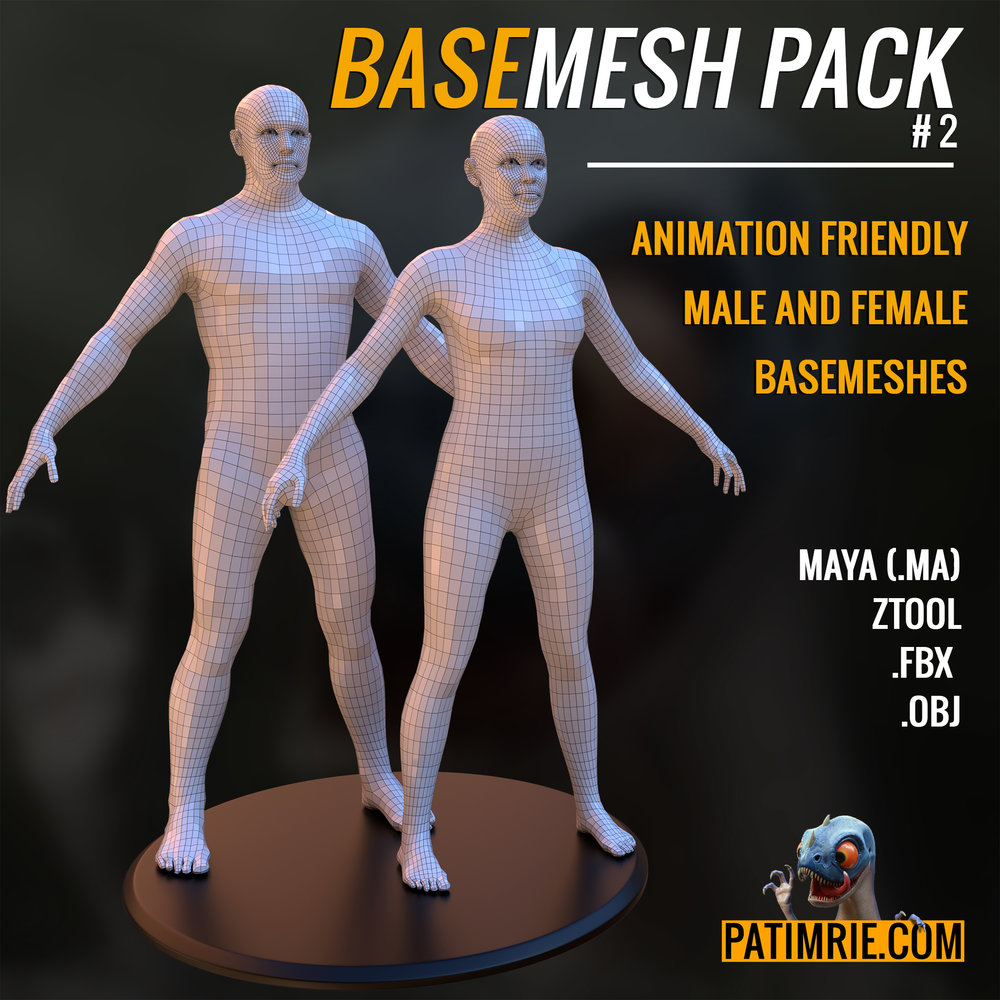 BASEMESH PACK #2 - A FREE PACK OF ANIMATION TOPOLOGY READY MODELS FOR SCULPTING, MODELLING & RIGGING. LINK WILL REDIRECT TO GUMROAD.COM.
