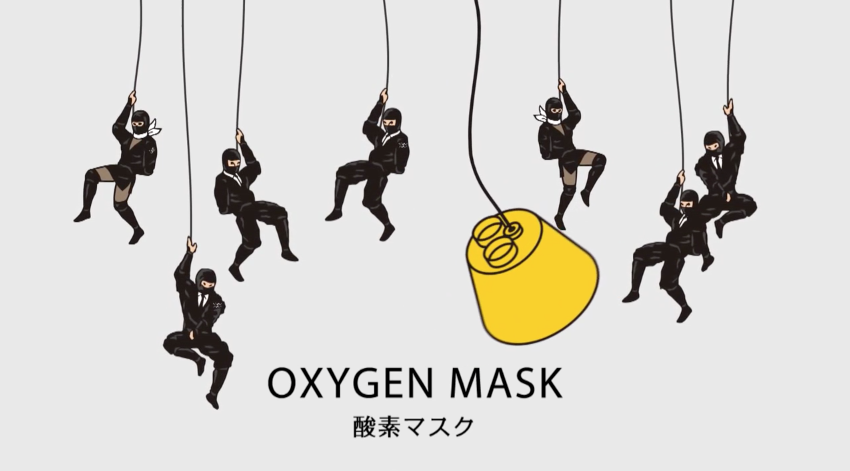 Ninja warriors rappelling oxygen masks