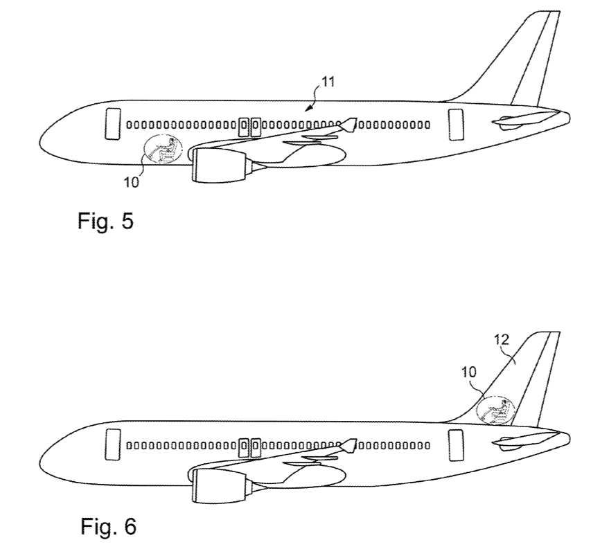 In the hold or in the tail (image taken from the patent application)