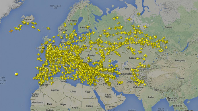 A country without airspace. (image credit: FlightRadar24)