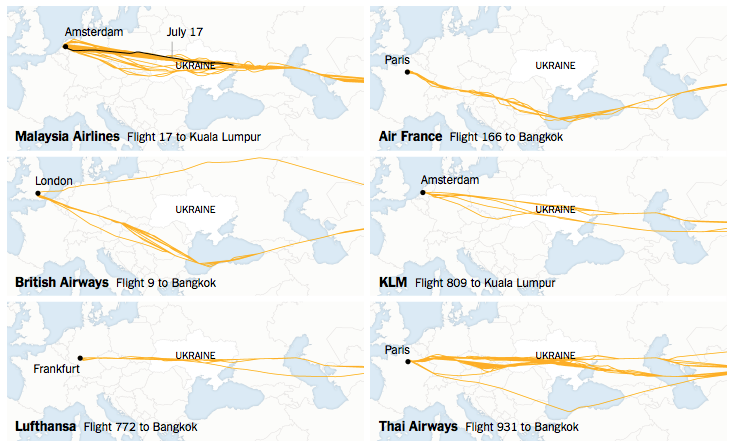 Flight paths (image credit: NYT, from FlightRadar24 data)