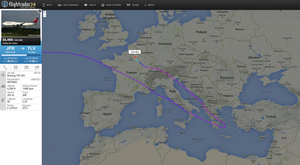 We'll always have Paris. (image credit: FlightRadar24 via  @flightradar24 on Twitter )