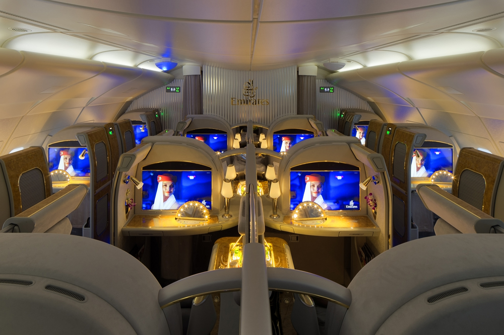 Inside the A380, upper deck. No overhead bins necessary. (image credit: Emirates Group)