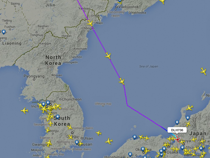 Feeling the heat? (image credit:  FlightRadar24 via NorthKoreaTech )