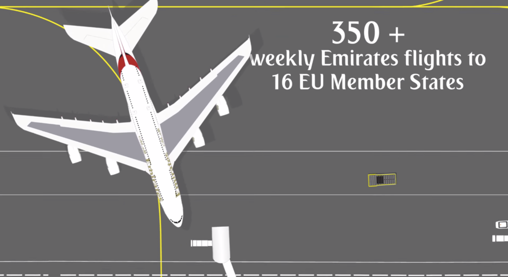 Close to 12 million passengers to and from the EU. (source: Emirates YouTube channel)