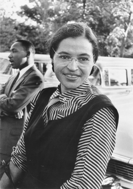 Photograph of Rosa Parks with Dr. Martin Luther King jr. (ca. 1955). [National Archives record ID: 306-PSD-65-1882 (Box 93). Source: Ebony Magazine]