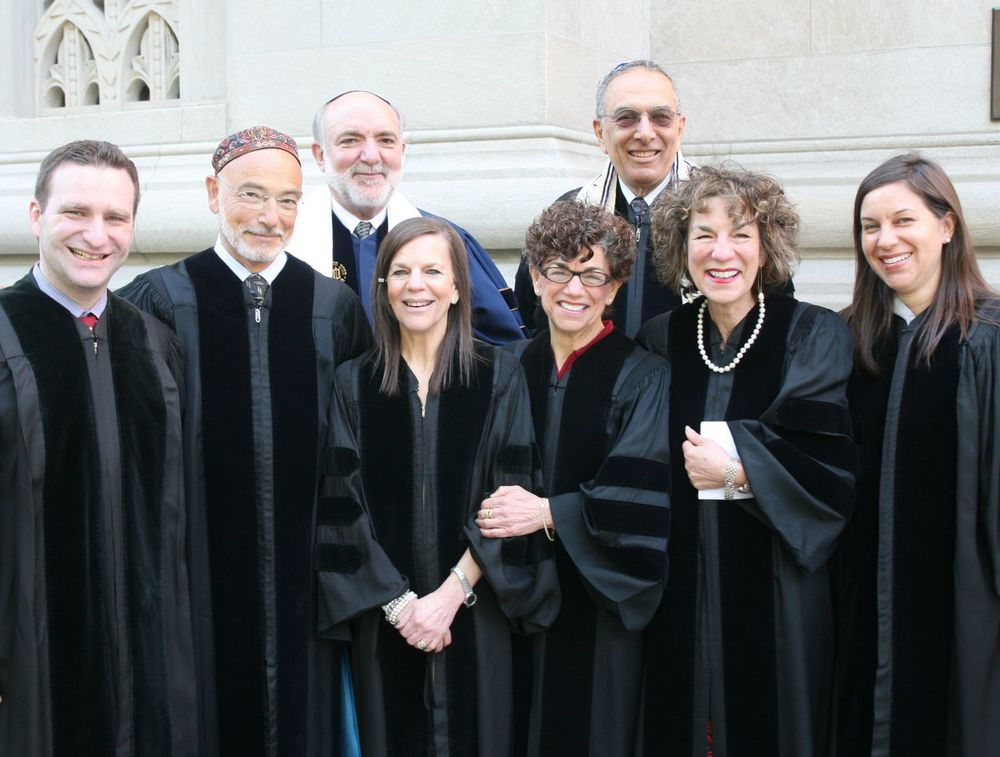 Rabbi Levi Lauer (second from left) with Rabbi David Ellenson, President of HUC-JIR, Irwin Engelman, Chairman of HUC-JIR's Board of Governors, and members of the Joseph family at the Ordination and Investiture Ceremonies at Congregation Emanu-El of the City of New York on Sunday, May 8, 2011, when Levi Lauer was awarded the Roger E. Joseph Prize.