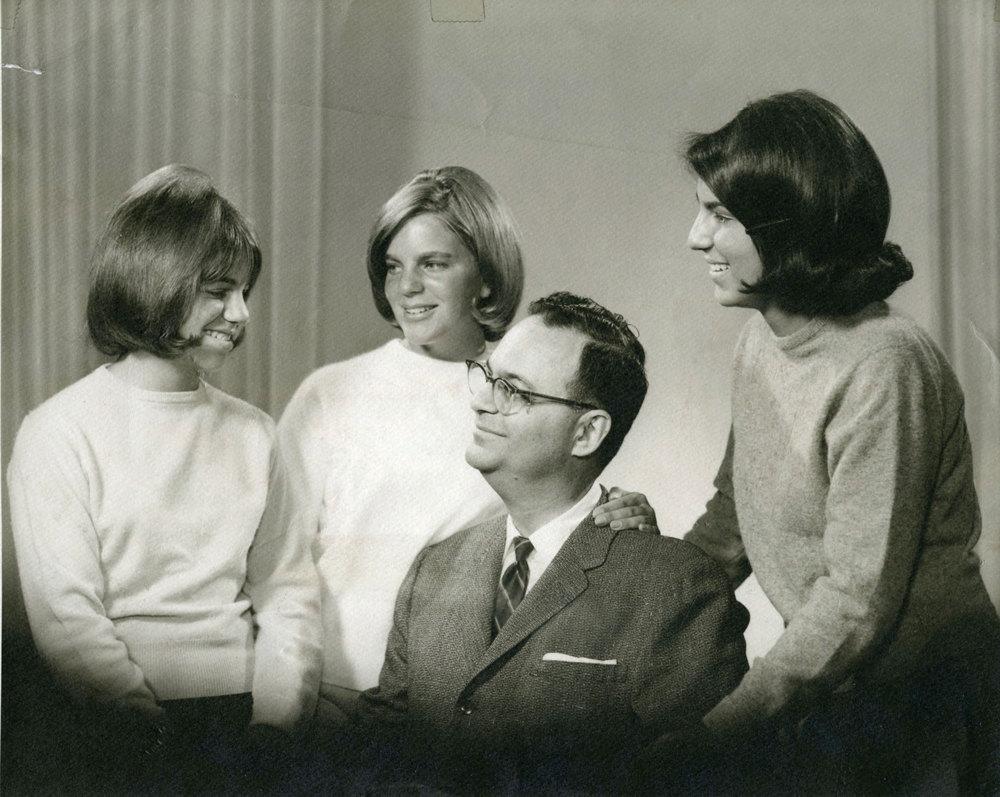 Roger E. Joseph with his daughters Ellen Joseph, Linda Karshan, and Roxane Leopold, circa 1965.