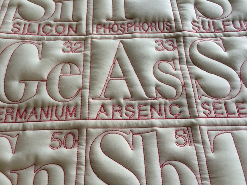 Periodic table quilts theodore gray periodic table quilt natural fabric contrasting thread urtaz Image collections