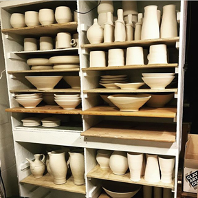 Shelf full of greenware