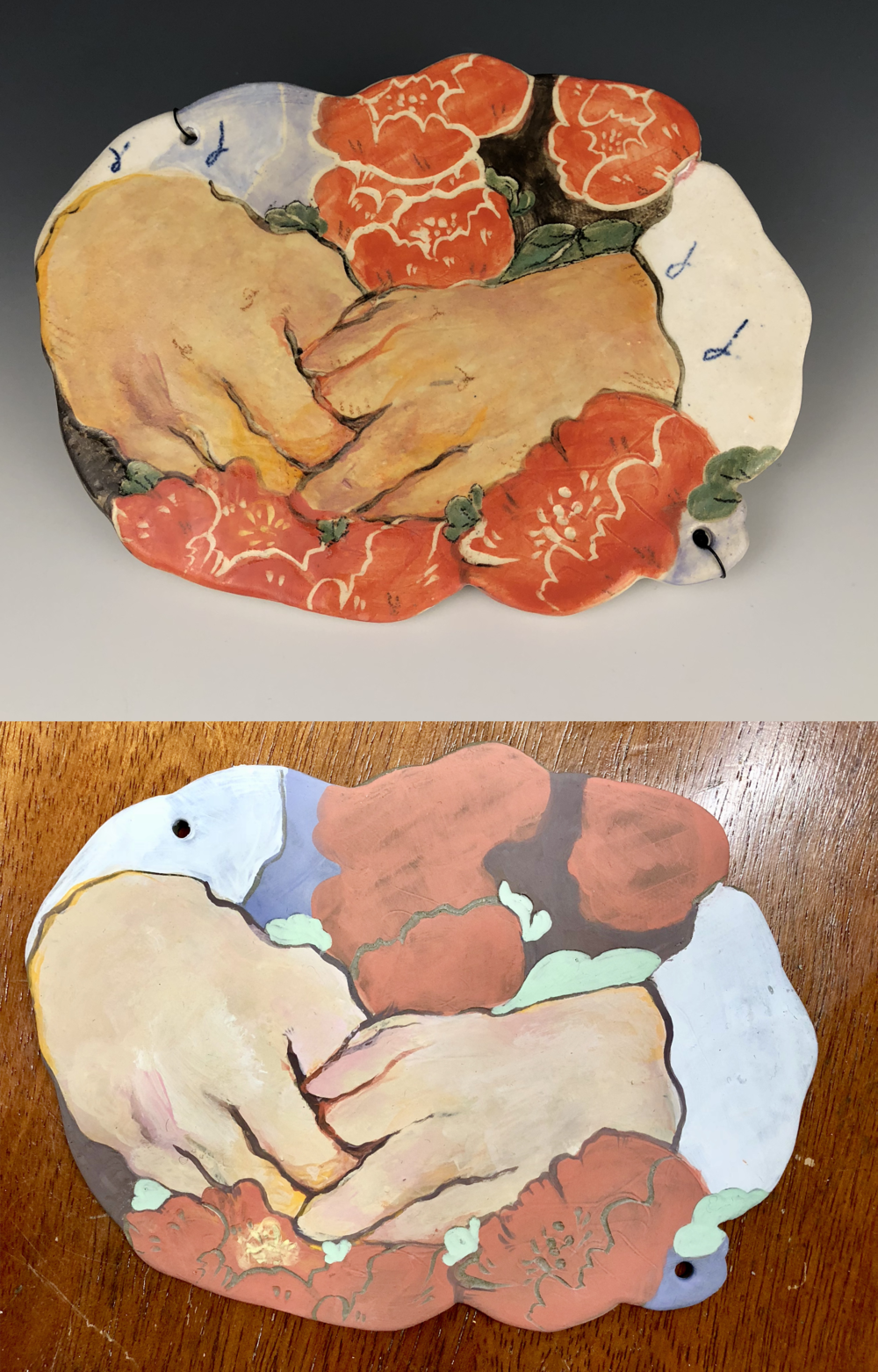 Hands , stoneware, ∆5, 2018. Fired (top) and unfired (bottom).