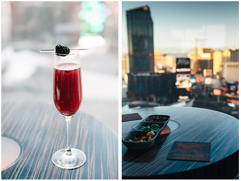 The Mandarin Bar on the the 23rd floor of the Mandarin Oriental was a perfect spot to watch the daylight fade to nightlife in Las Vegas.