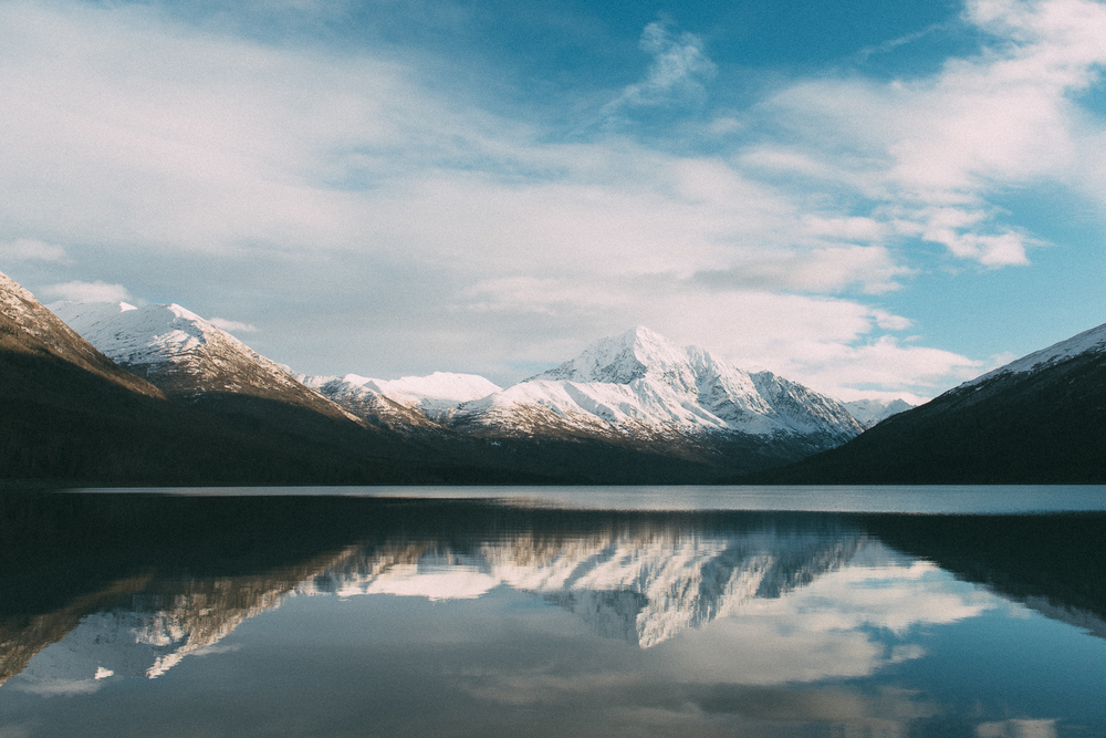mirror reflection at lake eklutna