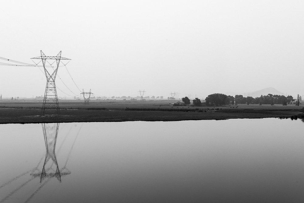 power lines and smoke