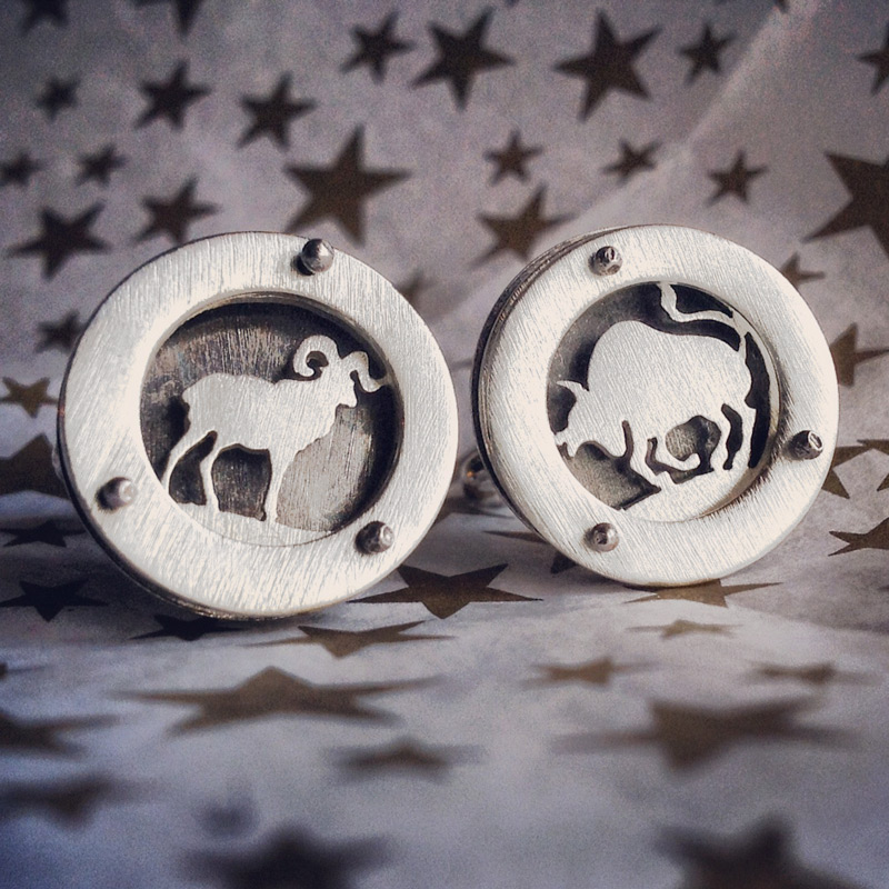 Cufflinks with Aries and Taurus for a collector with cusp zodiac sign.