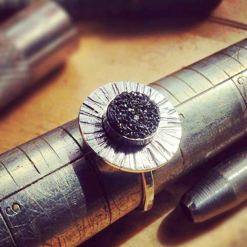 Sterling silver druzy ring.