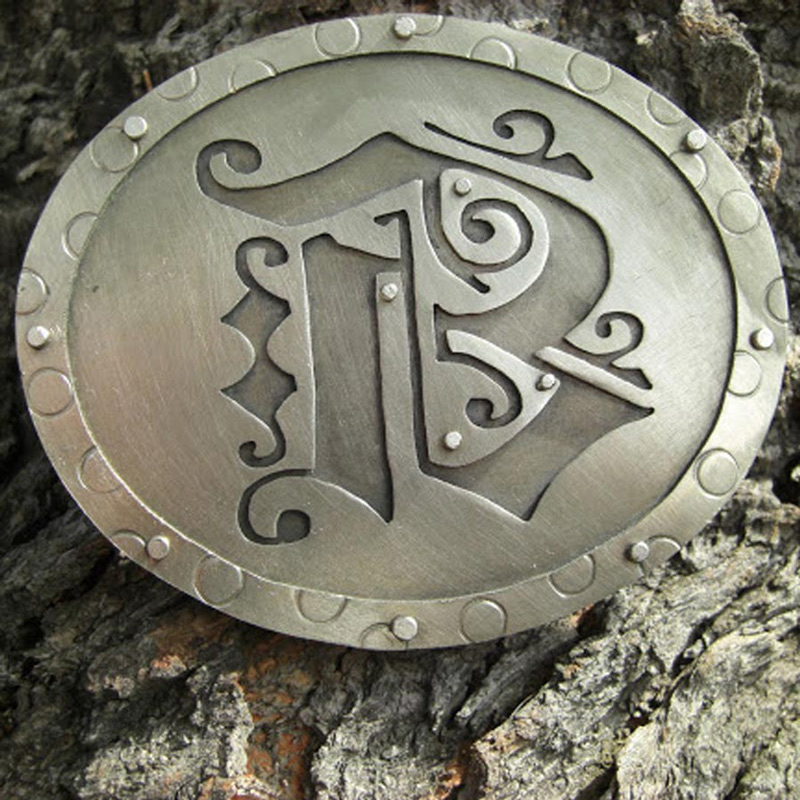 Nickle belt buckle wedding gift with initial for Danielle Berner.