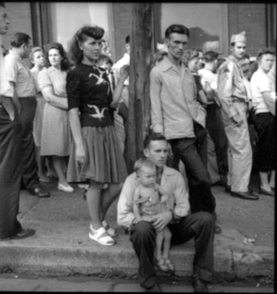 Man Sitting on Curb with Baby on Lap, Opry Series 1946