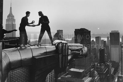 Annie Leibovitz and Assistant Robert Bean on the Chrysler Building, NYC, 1981