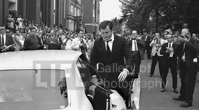 Edward Kennedy Arriving For Mary Jo Kopechne's Funeral, Plymouth, PA, 1969