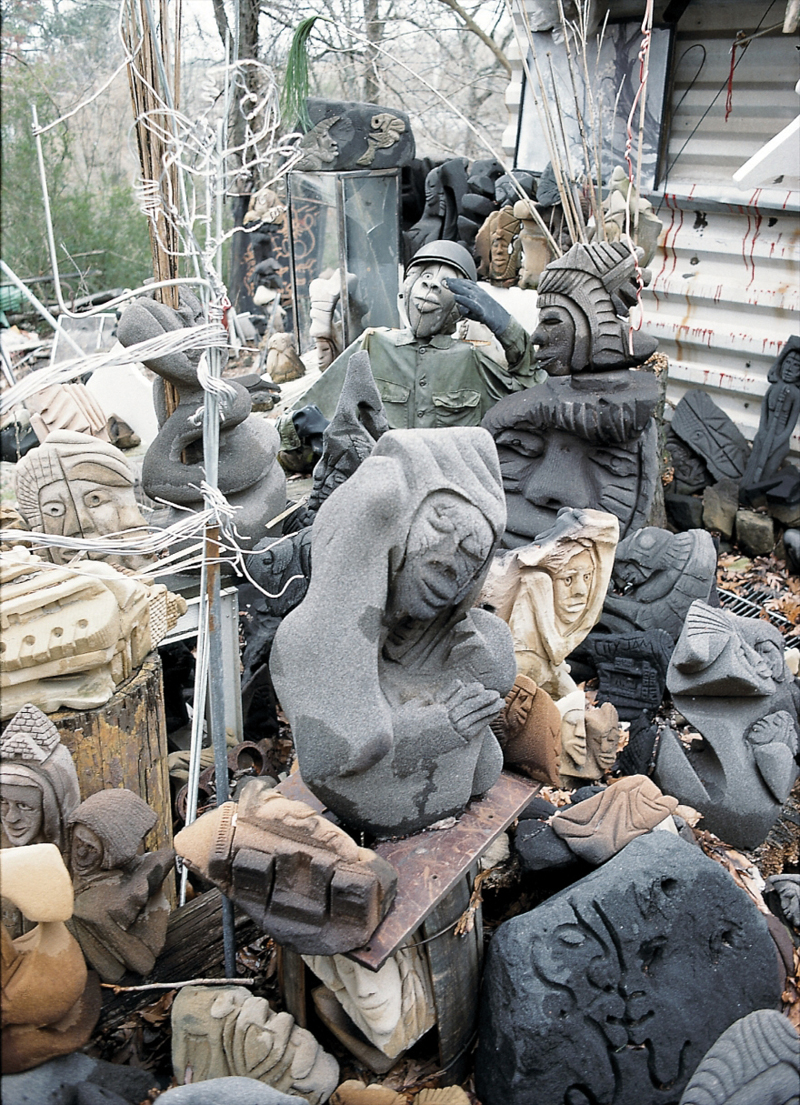 LONNIE HOLLEY - Sandstone carvings at Holley's Birmingham yard