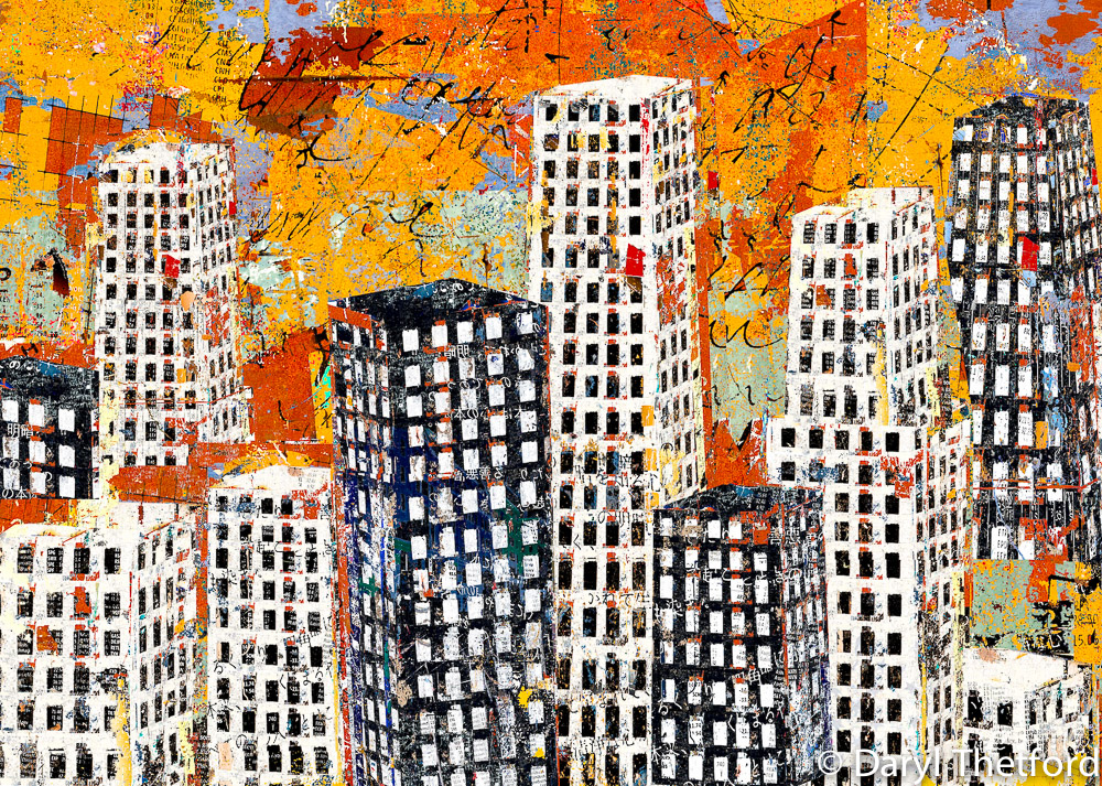 Orange, Black and White Cityscape
