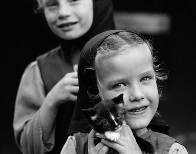 Mennonite Girl with Kitten
