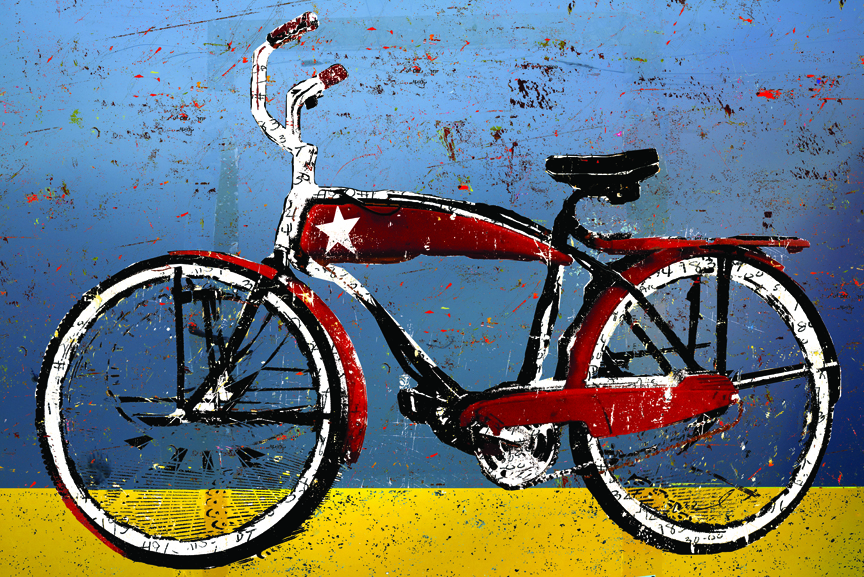 Red Bike with Star, Blue and Gold Glass