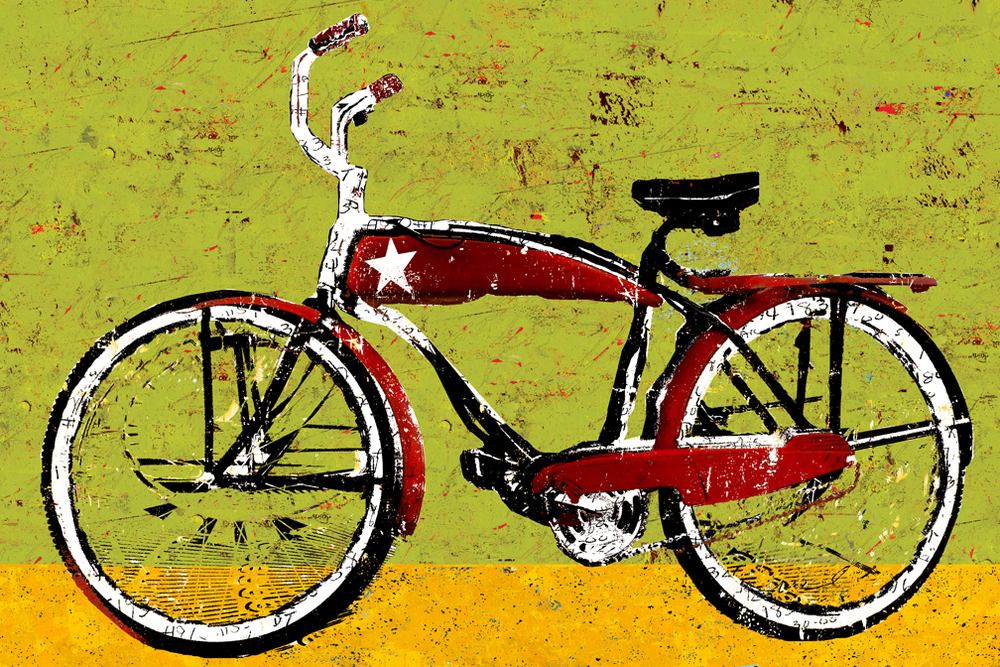 Red Bike with Star, Green and Gold (Plexiglass)