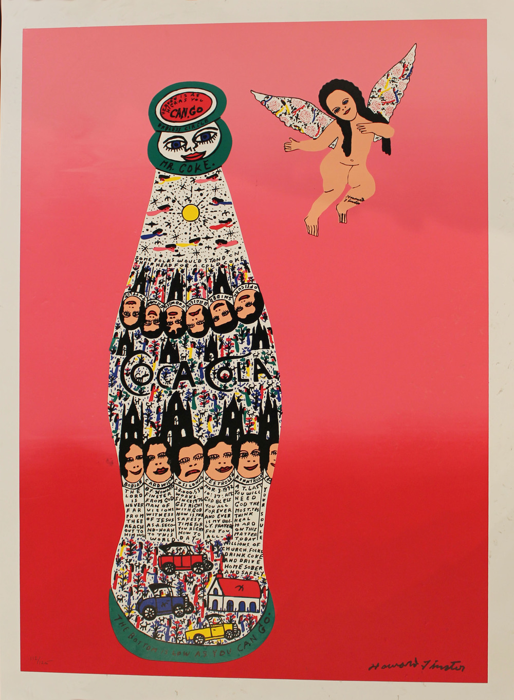Finster Coke and Angel Lithograph 112:125 signed Howard Finster 30x22in.jpg