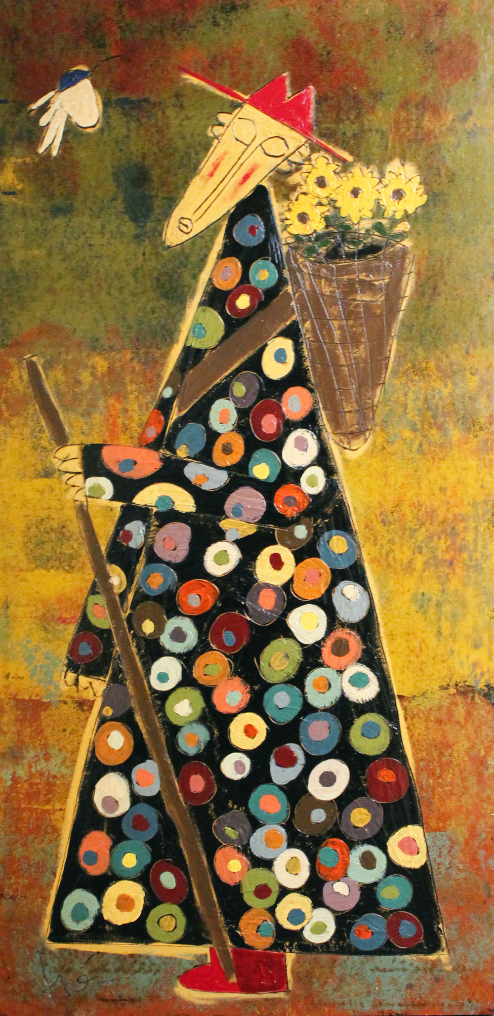 Traveling Monk with FlowersTres Taylor Paint on Tar Paper 72x36in.jpg
