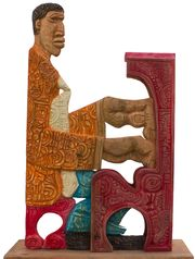 "LaVon Williams, ""Piano Lesson #3,"" painted, carved wood, 37 x 26 x 9.5 in. (Photo: LaVon Williams)"