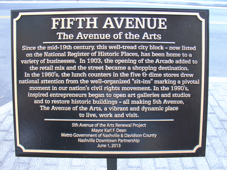 The new 5th Avenue of the Arts plaque was officially unveiled August 3, 2013. (Click to enlarge)
