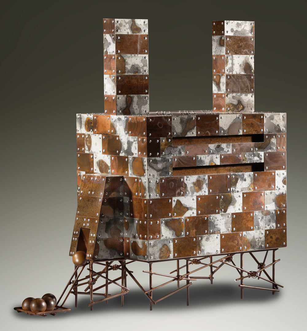 Explained Departure, 32 x 30 x 14 in, aged galvanized steel, cast steel balls, $4100.jpg