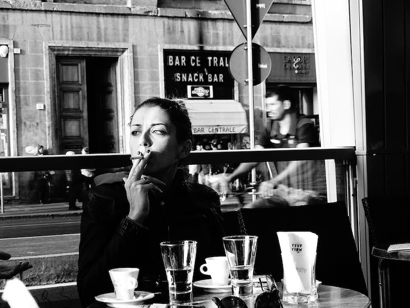 Young Woman in a Café, Florence, 2015