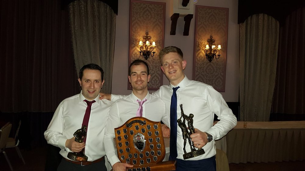 Declan, pictured left, having just won the Junior Footballer of the Year Award 2016