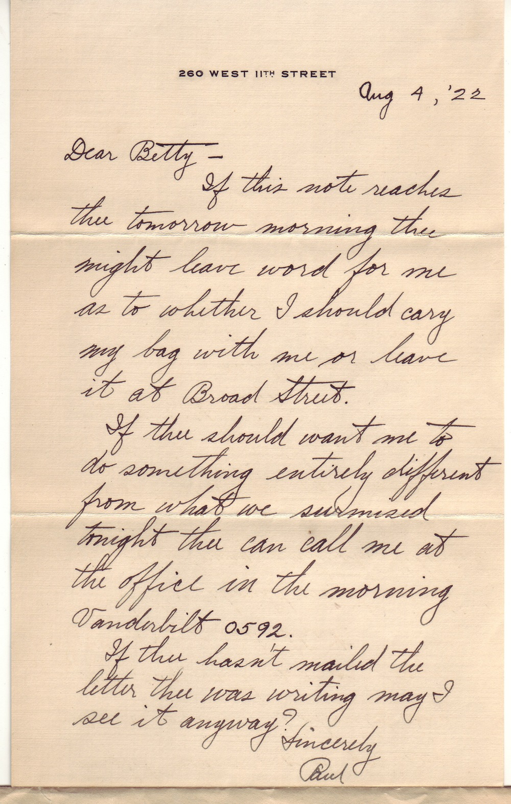 Paul's first letter to Betty