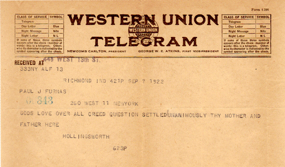 Telegram from Hollingsworth to Paul aboutthe decision made by Five Years Meeting to have a creed or not which Paul was following closely from New York