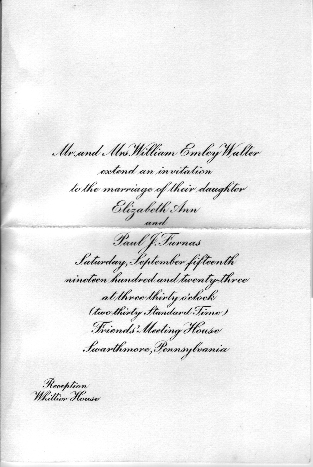 Invitation to the wedding of Paul & Betty