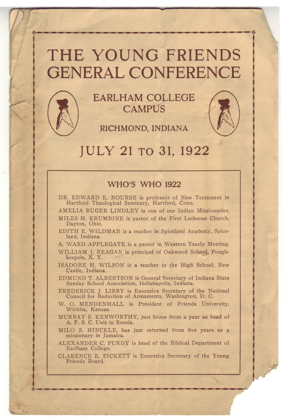 The original program from the Young Friends General Conference held in 1922