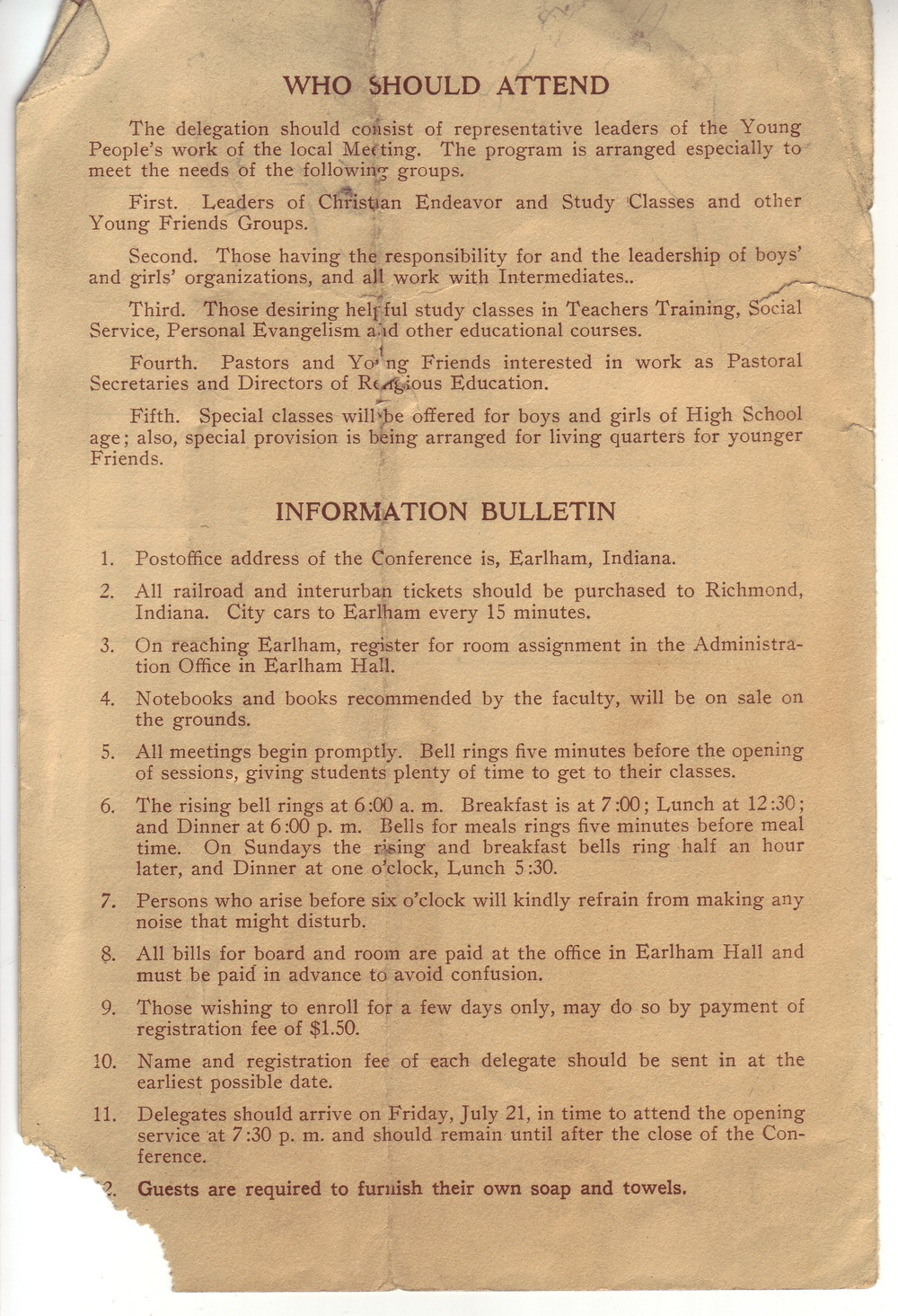 The program from the Young Friends General Conference, 1922