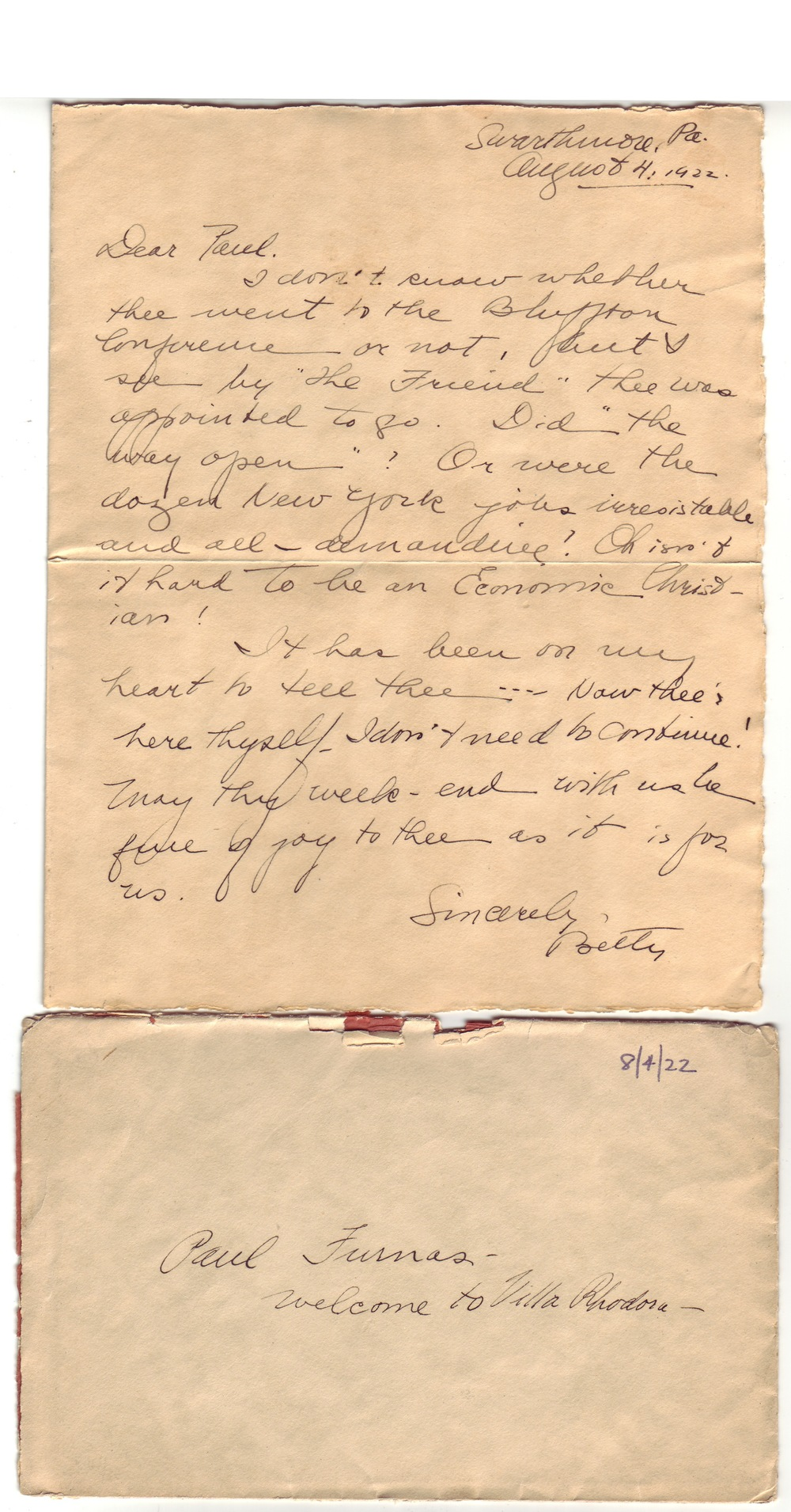 Betty's first letter to Paul