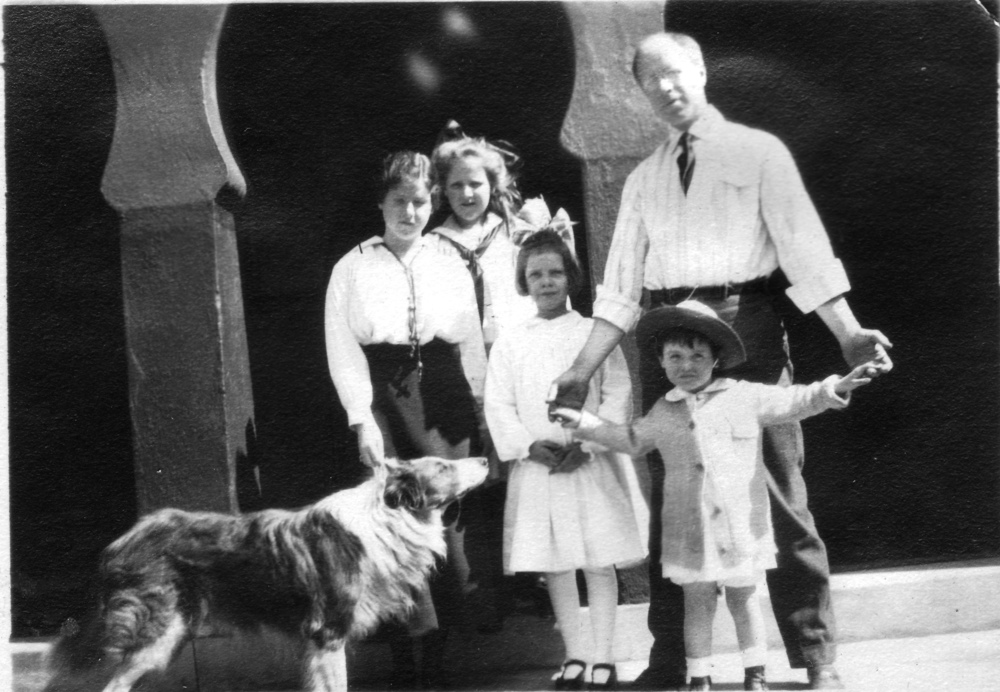 """At Swarthmore when Betty was fat."" l-r: Betty, Henrietta, Helen and their father, William Walter with Leonard Sargent, Jr."